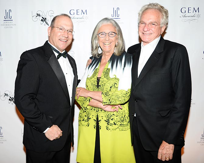 At the 2013 GEM Awards, President and CEO of Jewelers of America David Bonaparte, Marie Helene Morrow and David Yurman Photo courtesy of the GEM Awards