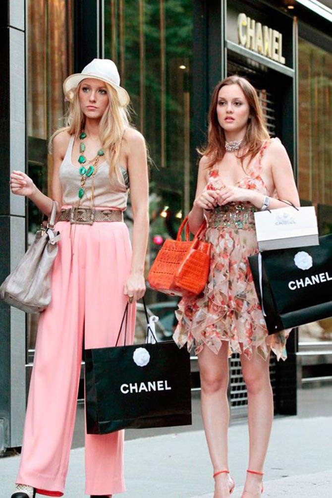 Blake Lively and Leighton Meester bejeweled and dressed to the nines for a Chanel shopping spree in 'Gossip Girl.'