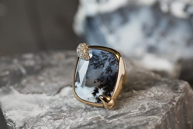 The Stormy Weather dendritic agate and diamond ring from Pomellato's 50th Anniversary Collection. Photo courtesy