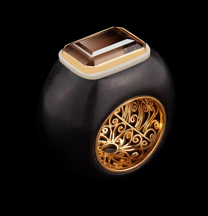 Emerald-Cut Smokey Topaz & Wild-Harvested Tagua Seed Ring by Alexandra Mor