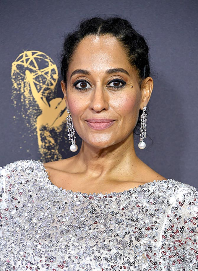 At the 2017 Emmys, Tracee Ellis Ross matched her Chanel couture with one-of-a-kind diamond and pearl earrings custom made for the occasion