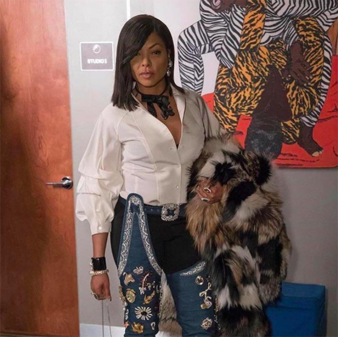 Taraji P. Henson wears the Rihanna x Manolo Blahnik boots with a Cookie touch—bedazzled in Kenneth Jay Lane brooches in Season 3 of 'Empire.'Photo @tarajiphenson /Instagram