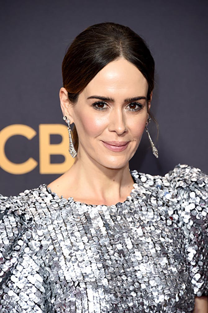 At The Emmys Sarah Paulson in vintage style diamond earrings
