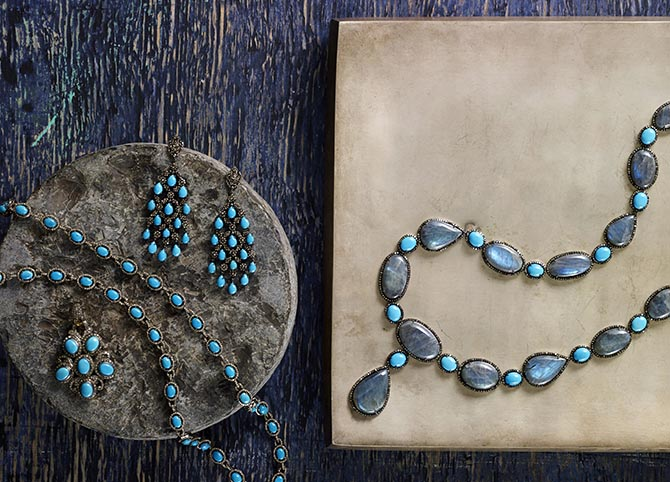 A selection of Modern Moghul's Turquoise and Diamond collection designed by Bibiana Dykema Photo courtesy