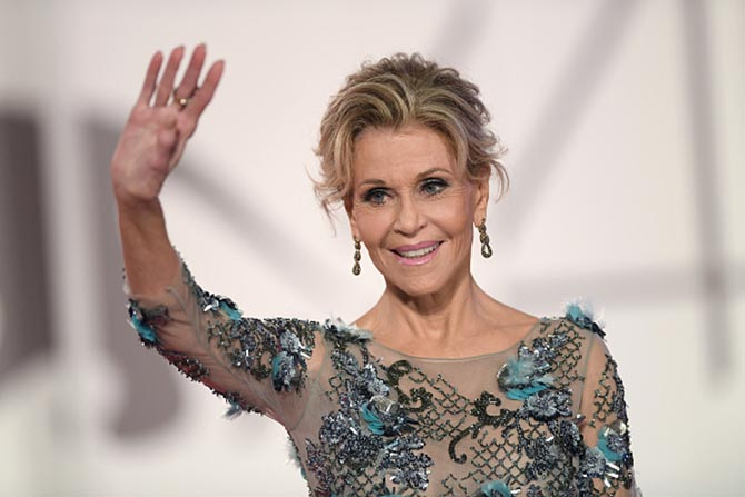 Jane Fonda in Pomellato earrings at the Venice Film Festival