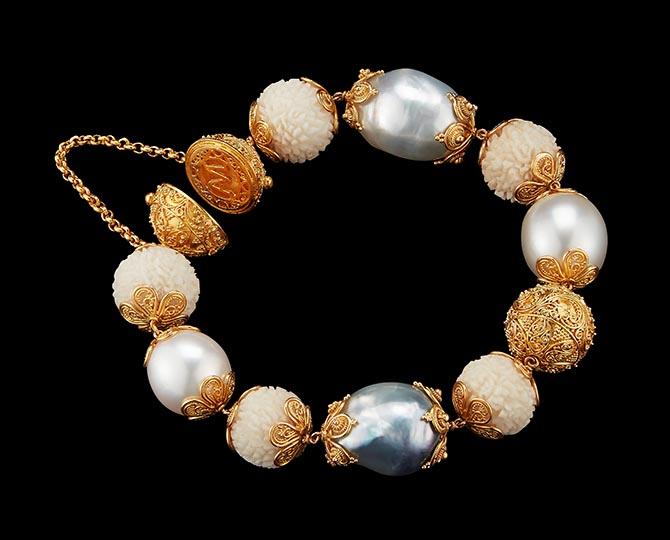 Carved Tagua Rudraksha, Sawo Wood & Baroque Pearl Bracelet