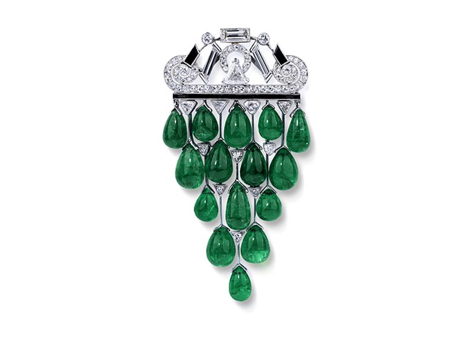 An art deco emerald, onyx and diamond brooch by Janesich from the Symbolic & Chase collection. Photo courtesy