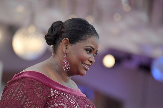 Octavia Spencer in earrings by Lorraine Schwartz at the Venice Film Festival premiere of the Shape of Water