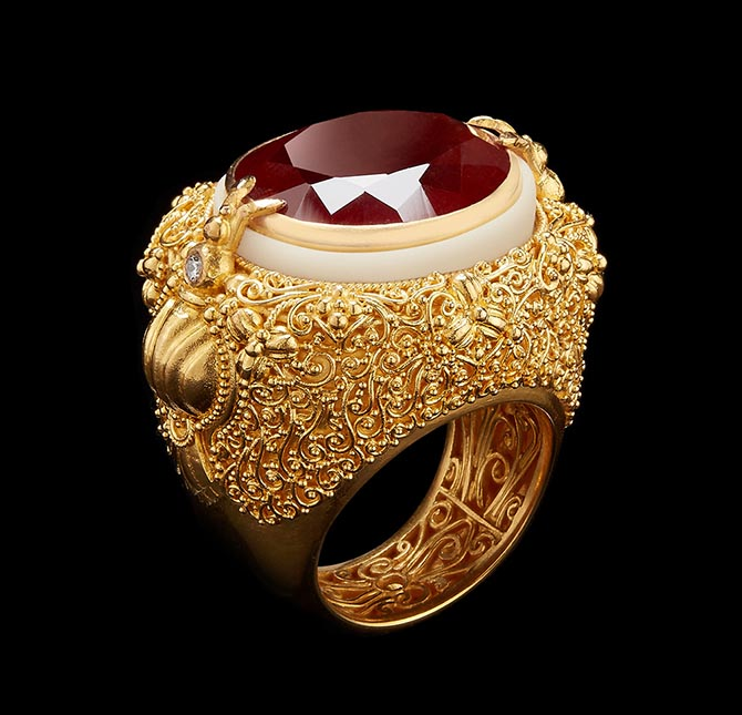 Oval-Cut Rich Orange Spessartite Garnet with Gold Filigree & Wild-Harvested Tagua Seed Ring by Alexandra Mor