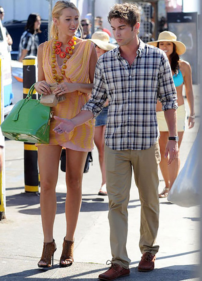 Chance Crawford with Blake Lively who is wearing an orange flower necklace with an agate bead necklace by Stephen Dweck