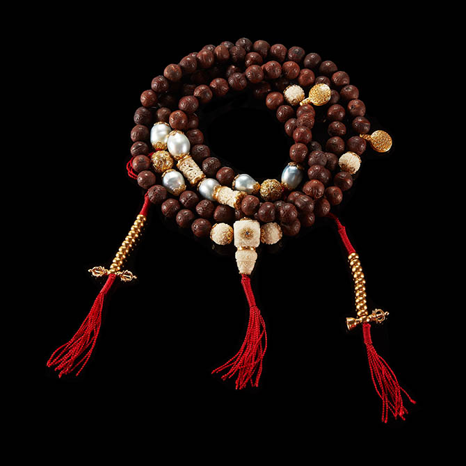 Bead Buddhist Mala Necklace by Alexandra Mor with Tagua Seeds