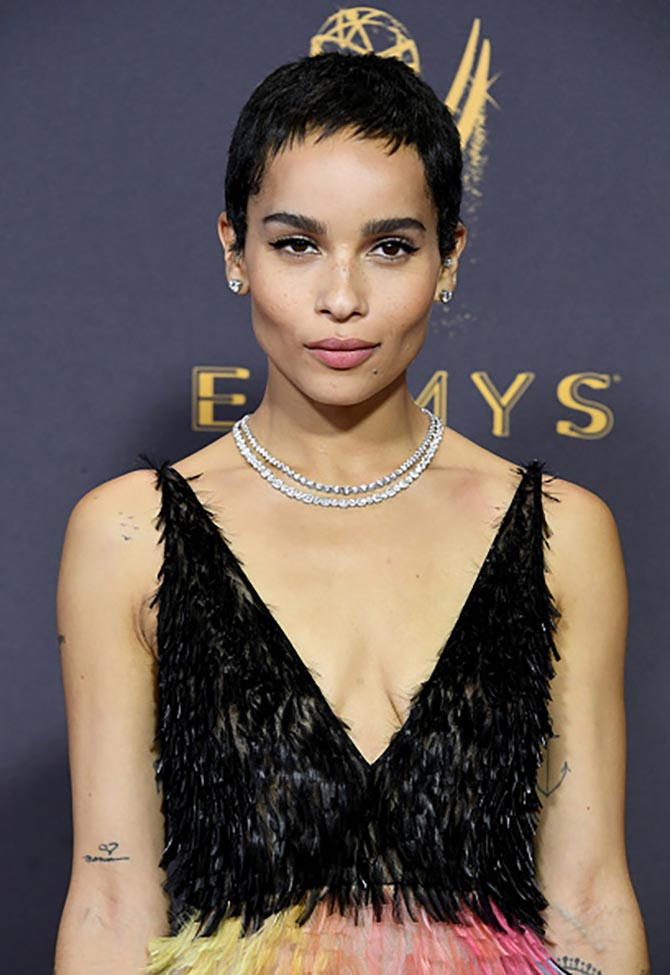 Zoe Kravitz wearing two Tiffany diamond and platinum necklaces at the 2017 Emmys