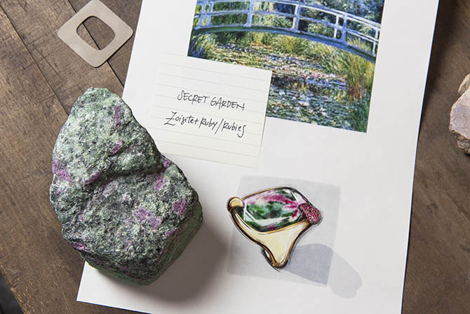 A ruby zoisite and the inspiration page the Secret Garden ring from Pomellato's 50th Anniversary Collection Photo courtesy