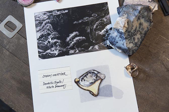 Hardstones and the inspiration page for the Stormy Weather for the dendritic agate and diamond ring from Pomellato's 50th Anniversary Collection Photo courtesy