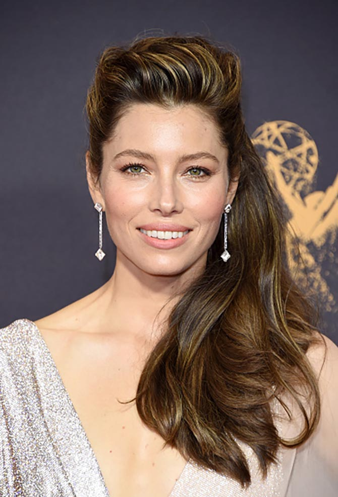 Jessica Biel wore several Forevermark diamond jewels to the 2017 Emmys