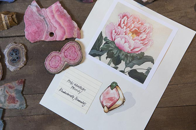Hardstones and the inspiration page for the Pink Hawaiian Peony ring from Pomellato's 50th Anniversary Collection Photo courtesy
