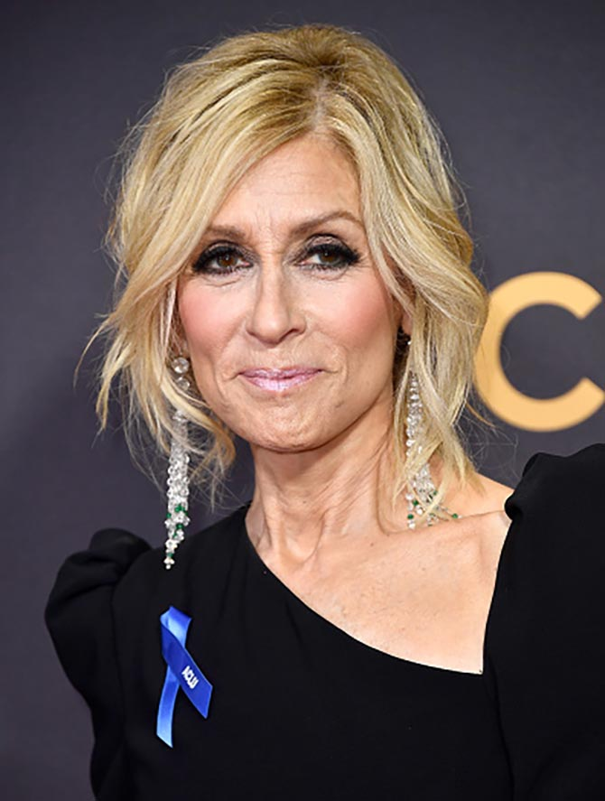 Judith Light in rose-cut diamond emerald bead and tassel earrings from Fred Leighton.