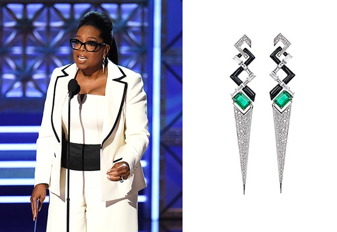 Oprah Winfrey in Total V Collection diamond, emerald and enamel earrings by Nikos Koulis and a ring by David Webb