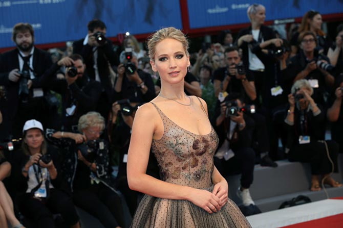 Jennifer Lawrence in a Dior gown and Tiffany diamond jewelry