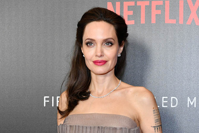 "Angelina Joie wearing a Dior diamond choker at the New York premiere of 'First They Killed My Father."" Photo by Dia Dipasupil/Getty Images"
