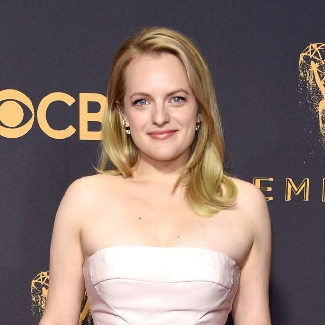 Elisabeth Moss in Forevermark Custom Two Stone Diamond Bar Earrings set in Rose Toned Platinum designed by stylist Karla Welch