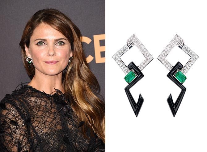 Keri Russell at the Emmys in Total V Collection diamond, emerald and enamel earrings by Nikos Koulis