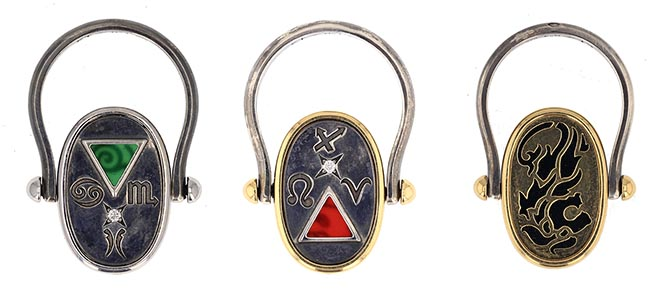 Three swivel Elie Top swivel rings from the Cosmogonie Secrète collection featuring various astrological signs and symbols for the elements fire, water, earth and air. Photo courtesy