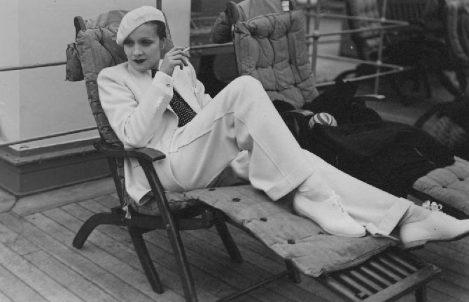 Marlene Dietrich wearing a white suit while crossing the Atlantic on the SS Europa in 1933. Photo Paul Cwojdzinski