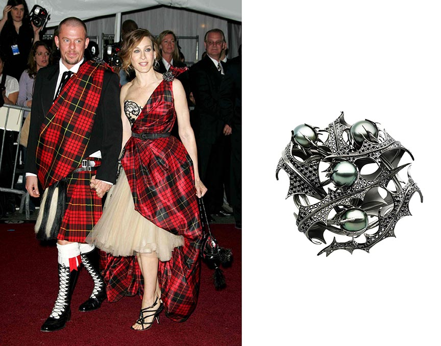 At the 2006 MET Ball, Alexander McQueen and Sarah Jessica Parker both wore one of Shaun Leane's silver 'Thistle' brooches on the shoulder of their tartans. One of the pair at right is in the Sotheby's sale with an estimate $40,000/60,000. Photo Rex Features and Sotheby's