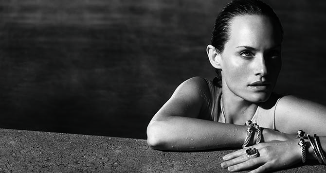 An image from 'David Yurman: Cable' of Amber Valletta in an ad for the jewelry designer.