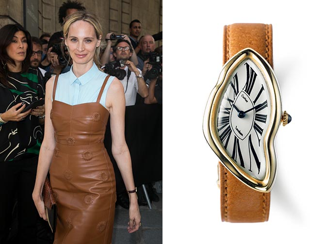 Lauren Santo Domingo wearing her Cartier Crash watch, similar in style to the example on the right, at the Valentino Haute Couture Fall 2017 show in Paris. Photo by Marc Piasecki/WireImage and N. Welsh