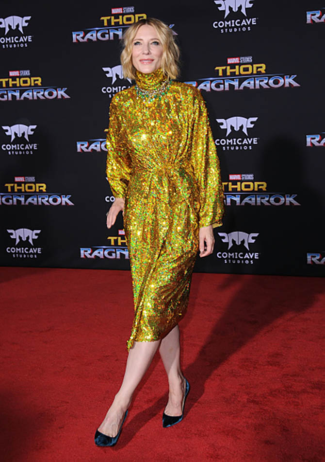 Cate Blanchett wearing three Fred Leighton necklaces with a Gucci dress at the premiere of 'Thor: Ragnarok'. Photo Getty