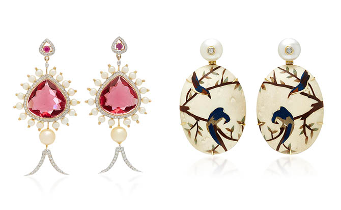 From LSD's Jewelry Box on Moda Operandi: Hanut Singh Narcotic Pink Jasmine Earrings and Silvia Furmanovich Marquetry Bird Oval Drop Earrings Photo courtesy