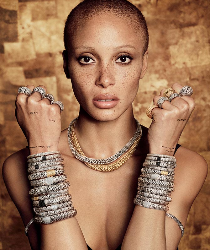 "Adwoa Aboah wearing classic chain bracelets, necklace and rings in John Hardy's ""Made for Legends"" campaign. Photo Luigi Murenu and Iango Henzi/John Hardy"