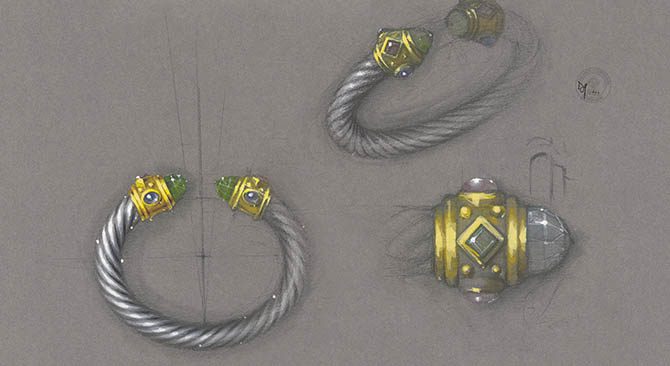 An image from 'David Yurman: Cable' of a gouache, watercolor and pencil design from 1993 of a Renaissance cable bracelet with details.