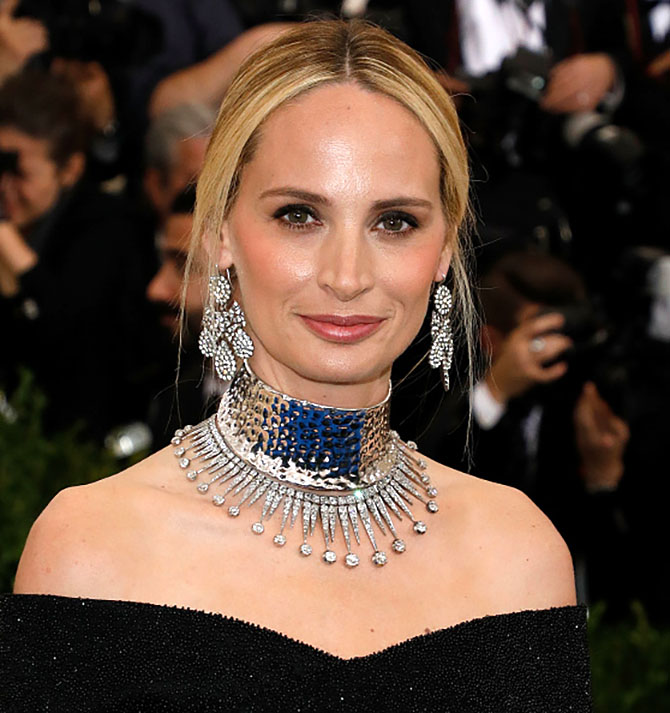 Lauren Santo Domingo wearing a Proenza Schouler choker and vintage necklace from Nina Runsdorf with girandole earrings at the MET Gala on May 1, 2017 in New York City. Photo by Taylor Hill/FilmMagic
