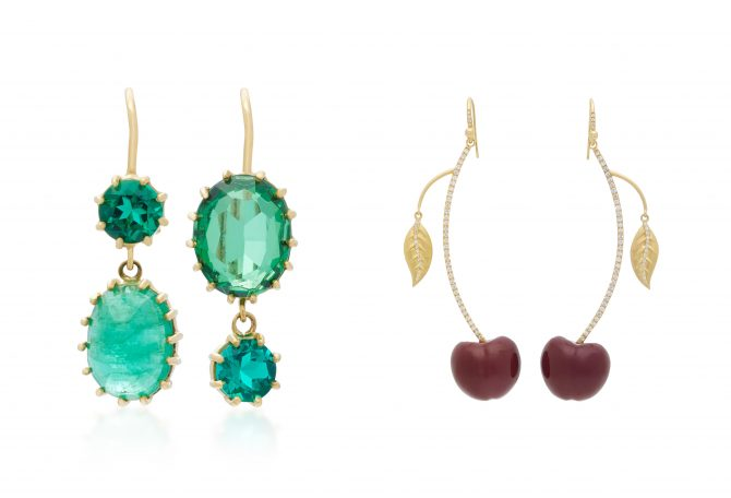 From LSD's Jewelry Box on Moda Operandi: Renee Lewis Gold and Emerald Earrings and Irene Neuwirth Carved Red Cherry Earrings. Photo courtesy