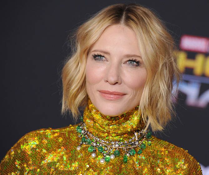 Cate Blanchett wearing three vintage Fred Leighton necklaces at the 'Thor: Ragnarok' premiere Photo by Gregg DeGuire/WireImage