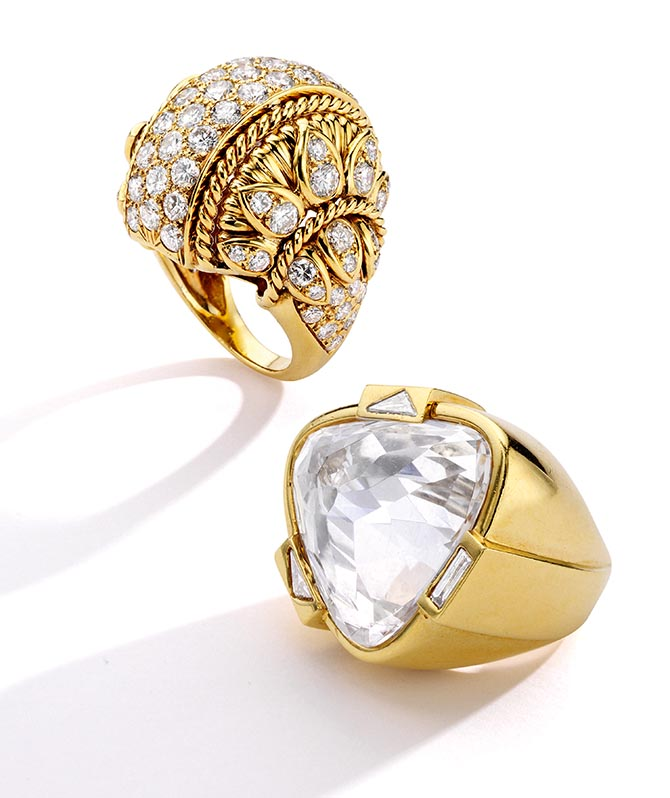 Aerin Lauder Zinterhofer's vintage diamond and gold Van Cleef & Arpels ring and rock crystal and diamond David Webb ring. She is selling the jewels at Sotheby's to benefit BCRF. Photo courtesy of Sotheby's