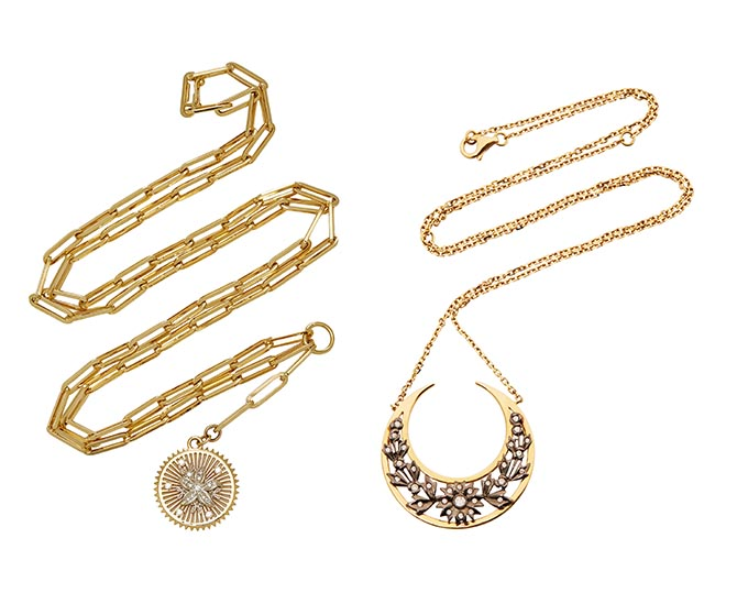 "From LSD's Jewelry Box on Moda Operandi: Foundrae 27"" Clip Chain Necklace with Mille Fleur Medallion and Yvonne Lee Gold and Diamond Necklace. Photo courtesy"