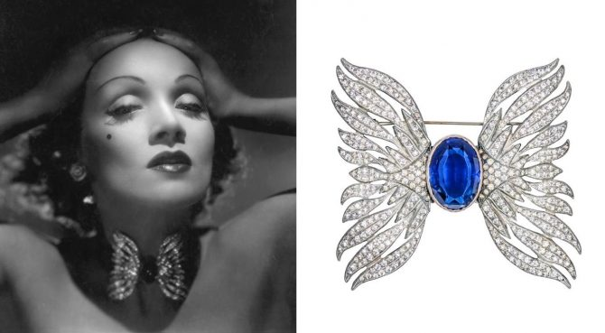In a publicity still for the 1939 film 'Destry Rides Again,' Marlene Dietrich posed in the simulated diamond and sapphire brooch styled as a choker. Julien's Auctions estimate for the brooch is $5,000 - $7,000. Photo Hutton Archive and Julien's Auctions