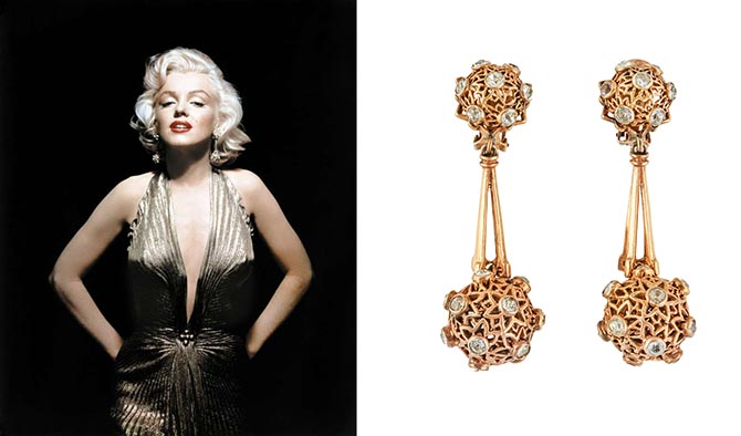 Marilyn Monroe wore the gold-plated clip-on earrings featuring filigree spheres accented with simulated diamonds from Joseff of Hollywood in a series of iconic Fox publicity images by Frank Powolny to promote 'Gentlemen Prefer Blondes' (1953). The Julien's Auctions estimate for the earrings is $60,000 - $80,000.