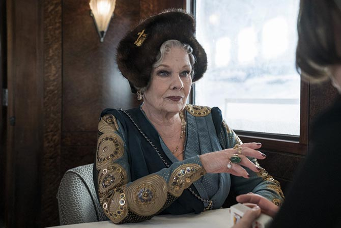 Judi Dench decked out in jewels, velvet and fur in 'Murder on the Orient Express.' Photo Twentieth Century Fox