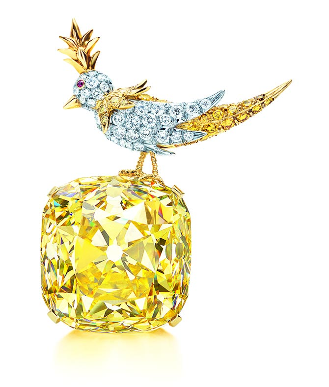 The Tiffany Diamond was set in Schlumberger's Bird on a Rock design in 1995. Photo courtesy