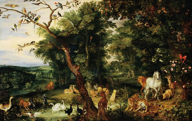 The painting 'Entering the Ark' by Jan Brueghel the Elder that inspired Van Cleef & Arpels to created a collection of animal brooches. Photo Getty