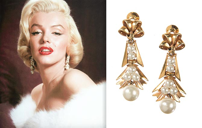 A pair of clip-on earrings in stylized ribbon design, accented with simulated pearls was worn by Marilyn Monroe in a publicity image by photographer Frank Powolny for 'Gentlemen Prefer Blondes' (1953).