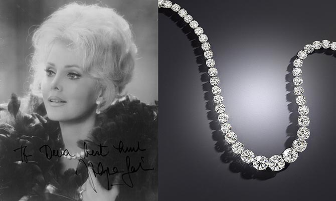 A publicity image of Zsa Zsa Gabor wearing her Harry Winston diamond rivière at right. Photo Bonhams