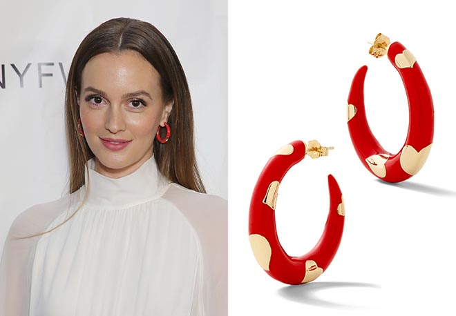 Leighton Meester wore yellow gold and enamel Amour Hoops by Alison Lou on September 10, 2017 at the Naersi show during New York Fashion Week in New York City. Photo Mireya Acierto/Getty Images