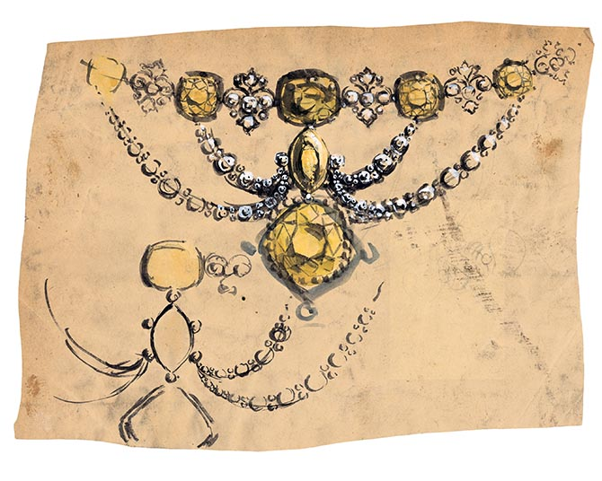 Design featuring the Tiffany Diamond set in the center of a swag motif with yellow and white diamonds from the turn of the century. Photo courtesy