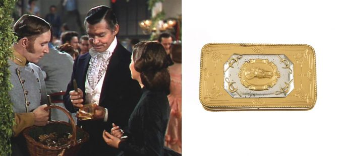 The gold-and silver-plated cigar case with a horse head plaque on the lid is carried by Clark Gable in 'Gone with the Wind' (1939) is part of the Joseff of Hollywood auction. In the film, when a soldier requests ladies donate jewelry for the war effort during at a benefit ball, Gable (as Rhett Butler) places the case in the basket. The Julien's Auctions estimate for the cigar case is $40,000 - $60,000. Photo Julien's Auctions